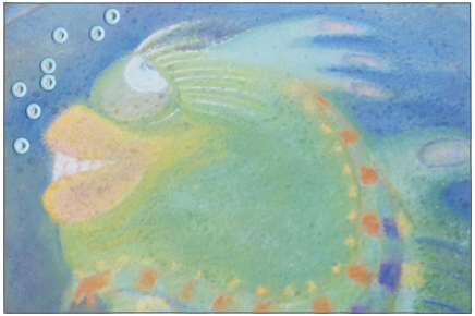 Mail Art postcard made from a photo of a fish chalk drawing and eyelets as bubbles