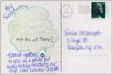 Mail Art Postcard created by embossing multiple Hello's