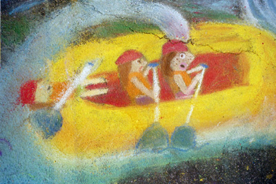 Small river-rafting chalk drawing (thrills included)